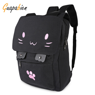Guapabien Cat Face Flap Cover Canvas Backpack for Girls