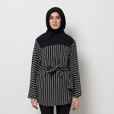 HAZELNUT Just A Cape Blouse Black White Stripes [One Size]