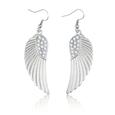 Stylish Sparkling Rhinestone Wing Women Earring Drops