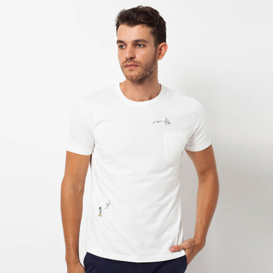 Minarno White Plane Pocket Kid S/S Tee- White
