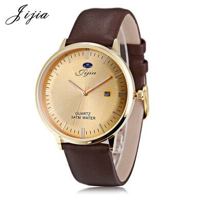 Jijia SG1279 Male Quartz Watch Genuine Leather Strap Date Display 3ATM Luminous Pointer Wristwatch