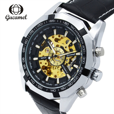Gucamel G043 Male Auto Mechanical Watch Luminous Genuine Leather Band Wristwatch JINJIXIN