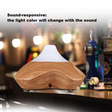Excelvan Sound Responsive Essential Oil Aroma Diffuser Ultrasonic Humidifier Air Mist Aromatherapy Purifier Light Woodgrain GX-08K