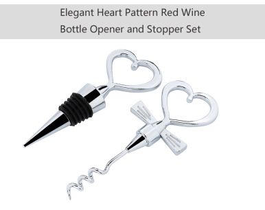 Creative Heart Shaped Red Wine Bottle Opener and Stopper Set