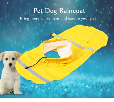 Adjustable Pet Dog Reflective Rain Jacket Raincoat with Cap