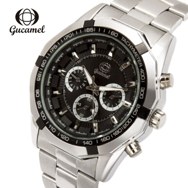 Gucamel B043 Men Quartz Watch Decorative Sub-dial Stainless Steel Band Men Wristwatch