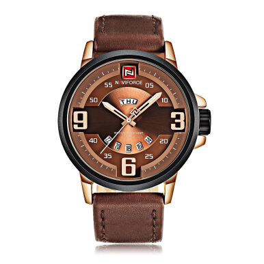 Naviforce 9086 Male Quartz Watch 3ATM Luminous Pointer Calendar Display Leather Strap Wristwatch