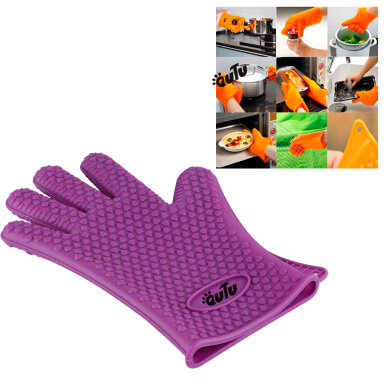 OUTU 1pair silicone Heat Resistant  bbq grill Oven gloves(purple)