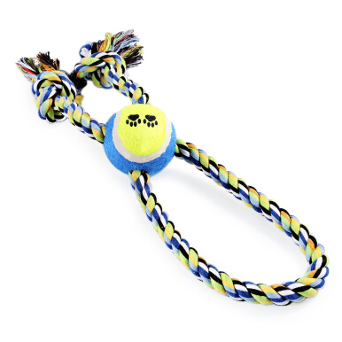 Pet Rope Toy Training Gadget Durable Chew Cotton Knot with Tennis Ball Teeth Clean RANDOM COLOR