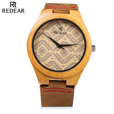 REDEAR SJ 1448 - 6 Male Wooden Quartz Watch Leather Strap Special Pattern Dial Wristwatch