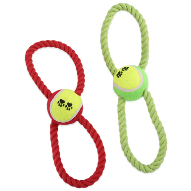 Cotton Rope Pet Dog Toy with Figure 8 Style Tennis Ball Random Color