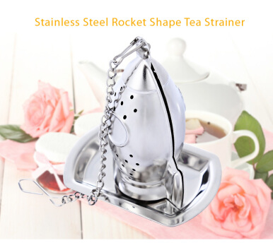 Stainless Steel Rocket Shape Tea Infuser Reusable Strainer Filter with Tray Chain