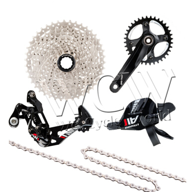 Ltwoo bicycle derailleur MTB AT1(11S)1x11 series,Shift Lever , Rear Derailleur,Crankset,Cassette Sprocket,Chain-Gloss black red