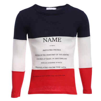 Casual Patchwork Letter Print Round Neck Male Long Sleeve Shirt