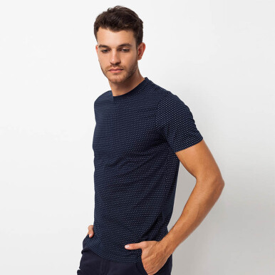 Minarno Navy Dotted 001 S/S Tee- Navy [S]