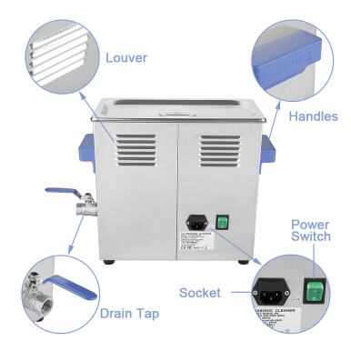 6L Ultrasonic Cleaner Heating Timer Power Adjustable Stainless Tank