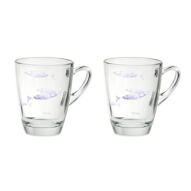 OCEAN Coffee Mug Vintage Motif 2 pcs - Violet - 320ml