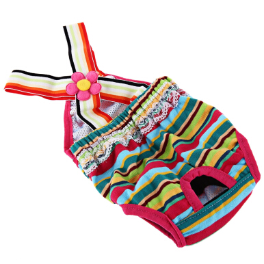 Rainbow Strip Female Pet Puppy Dog Cute Cotton Physiological Pant Underwear Diaper
