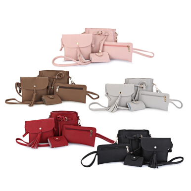 Guapabien 4pcs Shoulder Bag Card Holder Women Handbag