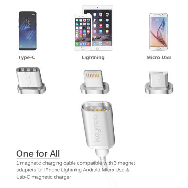 Keymao Magnetic Phone Kabel Data Lighting Type-C Micro USB Charger  Cable 3-in-1 for Iphone Android-Sliver