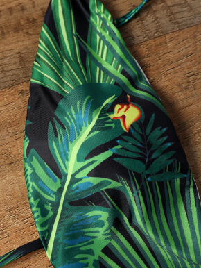 Tropical Print Low Cut Strappy Halter Swimsuit
