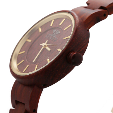 K KENON Male Quartz Watch Wooden Case Simple Dial Wristwatch for Men
