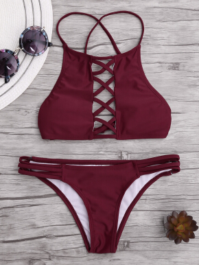 Lace Up Criss Cross Bikini Set