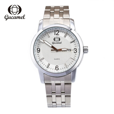 Gucamel B009 Men Quartz Watch Stainless Steel Band Date Day Display Male Wristwatch