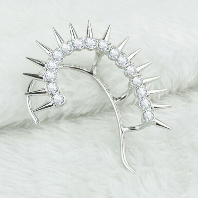 Cool Style Rhinestone Sparkling Rivets Women Clip Earrings