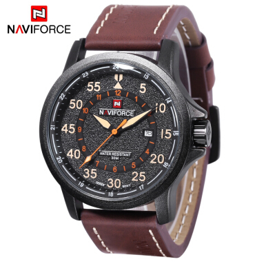 Naviforce 9076 Men Quartz Watch 24 Hours Display Calendar 3ATM Three Scales Wristwatch