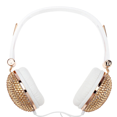 Artificial Crystal Rhinestone Bling Headphones With Anti-noise Function