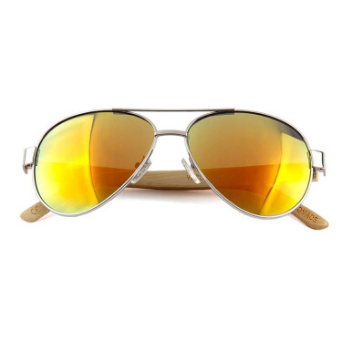 TUTU Hybrid Bamboo Aviator Red Wooden Sunglasses [00049]