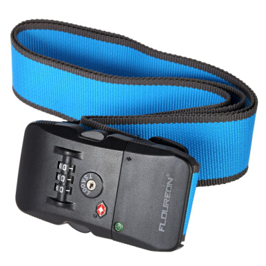 Floureon Adjustable Luggage Suitcase Strap Bluetooth Belt with Security Combination Lock Blue+Grey