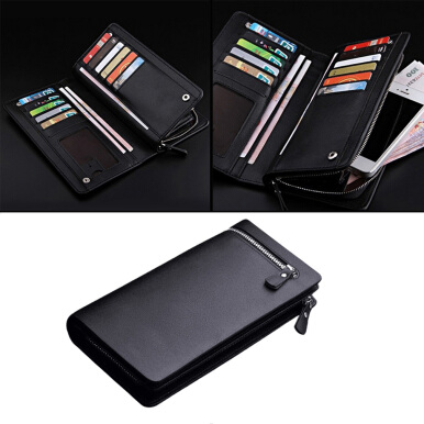 Fashionable Long Type Men Leather ID Credit Card Holder Clutch Purse Wallet