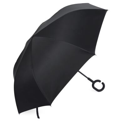 Windproof Reverse Folding Double Layer Umbrella with C-shaped Handle
