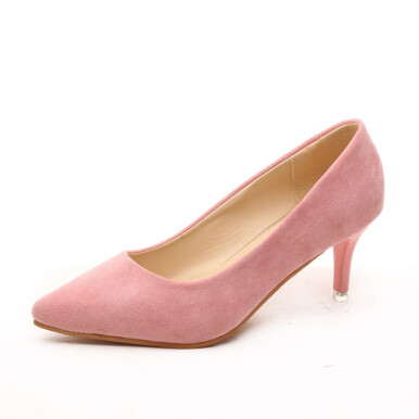New Fashion Women Suede Simple OL High Heel Pumps Women Pointed Toe Thin Heel Wedding Shoes