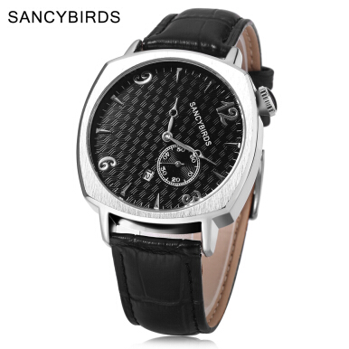 SANCYBIRDS FY981 Male Quartz Watch Working Sub-dial Date Display Tilt Numerals Dial Wristwatch