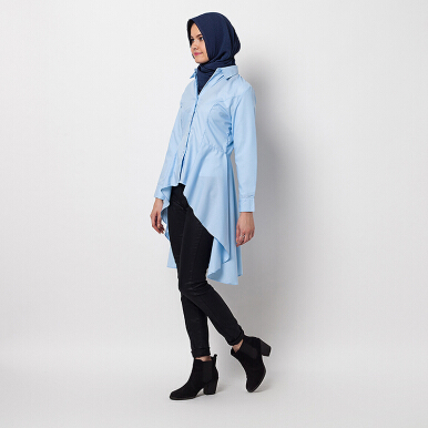 HAZELNUT Eduardo Long Flared Cotton Shirt Sky Blue