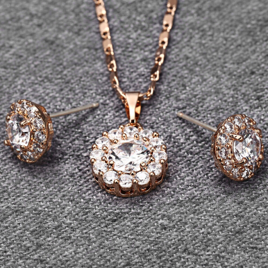 Sparkling Jewelry Set Rhinestones Earrings Necklace for Women