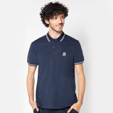 Minarno Navy Striped Collar 01 Polo- Navy