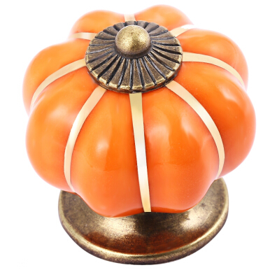 Colorful Ceramic Pumpkin Shape Drawer Cabinet Wardrobe Handle Knob with Screw