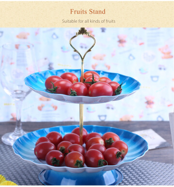 2-tier Stainless Steel Fruit Cupcake Plate Stand Pastry Tray