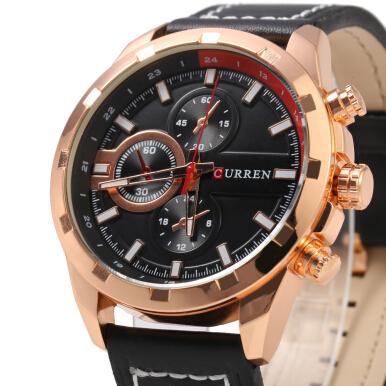 Curren 8216 Decoration Sub-dial Quartz Watch Genuine Leather Band for Men