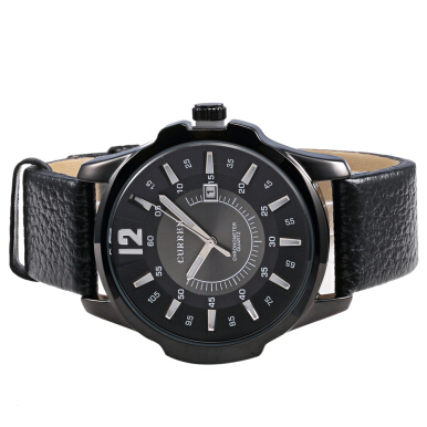 CURREN 8123 Men Quartz Watch Leather Strap Date Display 30m Water Resistance
