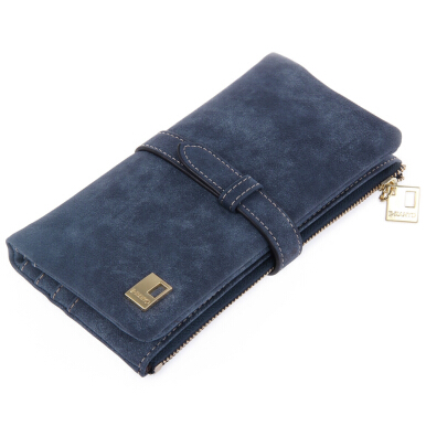 Solid Dull Polish Hasp Drawnstring Long Wallets
