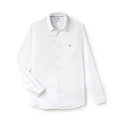 LACOSTE Men's Slim Fit Strech Cotton Poplin Shirt - White [M]