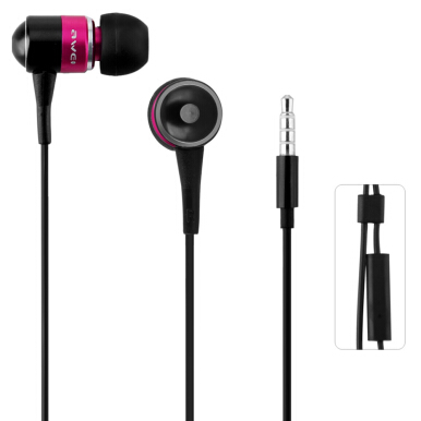 Awei ESQ3i 1.2m Cable Length Earphone With Mic For Mobile Phone Tablet PC (Pink)