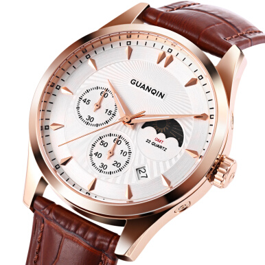 GUANQIN GQ80069 Male Quartz Watch Moon Phase Luminous Date Display Wristwatch