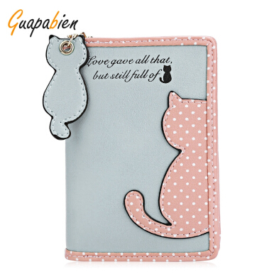 Guapabien Cat Wave Point Color Block Snap Fastener Zipper Short Wallet