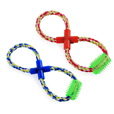 Pet Rope Toy Chew Eight Shape Cotton Knot with Thorn Teeth Clean RANDOM COLOR